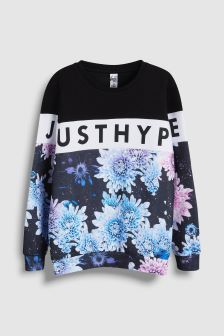 Hype. Purple Flower Crew Top
