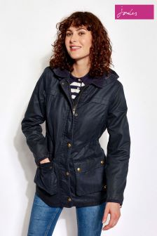 Joules Navy Faux Wax Hooded Jacket