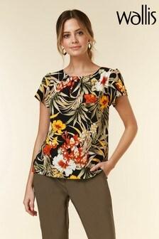 Wallis Black Petite Tropical Print Shell Top