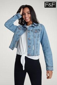 ז'קט ג'ינס בשטיפת כחול-מיד וגזרה קצרה של F&F