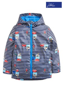 Joules Blue Skipper Boys Rubber Stripe Animal Raincoat