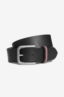 Leather Striped Loop Belt