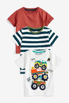 Appliqué Cars Short Sleeve T-Shirts Three Pack (3mths-7yrs)