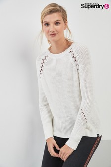 Superdry White Lace Detail Knit