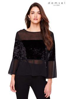 Damsel In A Dress Black Adonia Velvet Blouse