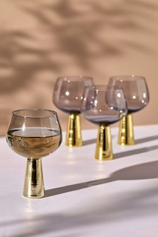 Set of 4 Smoked Gold Effect Wine Glasses