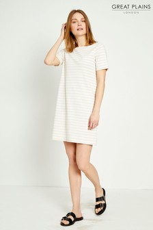 Great Plains Cream Monroe Stripe Round Neck Dress