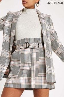 River Island Grey Check Mini Skirt