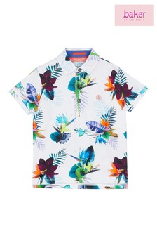 baker by Ted Baker White Short Sleeve Printed Tropical Polo
