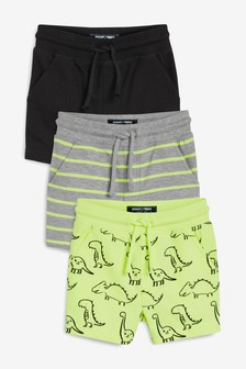 3 Pack Fluro Dino All Over Print Shorts (3mths-7yrs)
