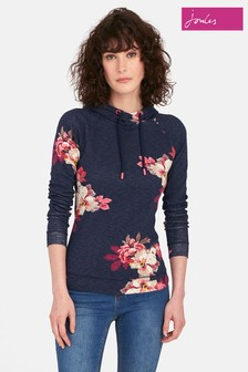 Joules Navy Floral Marlston Print Hooded Sweat