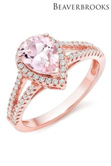 Beaverbrooks Rose Gold Plated Synthetic Morganite And Cubic Zirconia Ring