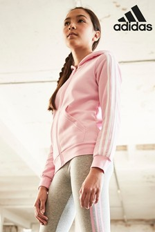 adidas True Pink 3 Stripe Zip Through Hoody