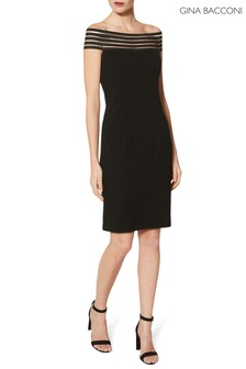 Gina Bacconi Black Lara Off The Shoulder Crepe Dress