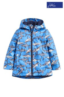 Joules Blue Skipper Boys Rubber Sharks Raincoat