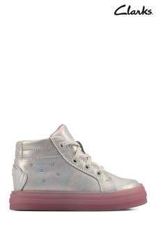 Clarks White Leather Flare Shell Hi T Boots