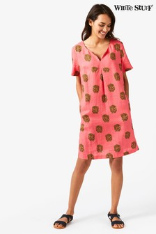 White Stuff Pink Banana Leaf Dress