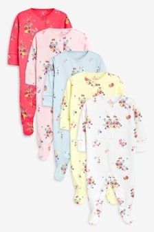 One-pieces Baby Girl Yellow And Pink Flower Print Baby Grow