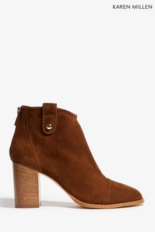 Karen Millen Tan Casual Suede Ankle Boot