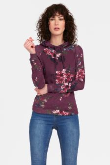Joules Purple Floral Marlston Print Hooded Sweat