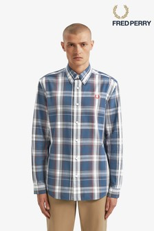Fred Perry Blue Twill Check Shirt