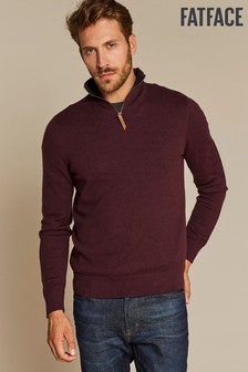 FatFace Purple Cotton Cashmere Half Neck Jumper