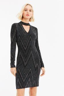 Oasis Multi Black Zig Zag Glitterball Dress