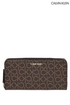 Calvin Klein Brown Mono Zip Around Wallet