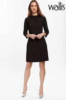 Wallis Black Beaded Shift Dress