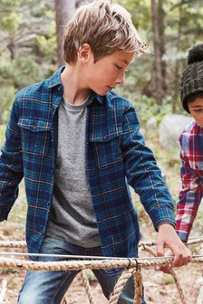 Long Sleeve Check Jersey Lined Shirt (3-16yrs)
