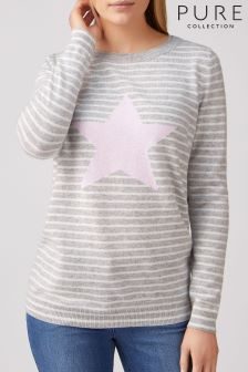 Pure Collection Boyfriend-Pullover, rosa