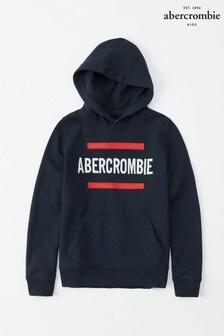 Granatowa bluza z kapturem z logo Abercrombie & Fitch