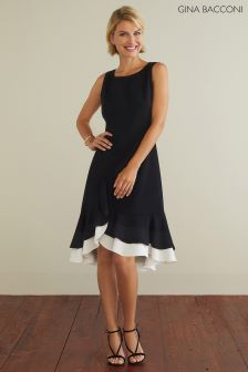 Gina Bacconi Black Alba Crepe Layered Dress