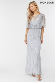 Monsoon Blue Tatiana Embellished Maxi Dress