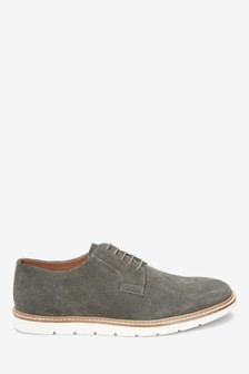 Suede Wedge Sole Derby Shoes