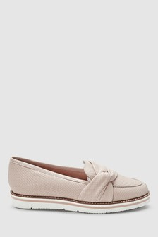 Asymmetric Twist White Sole Loafers