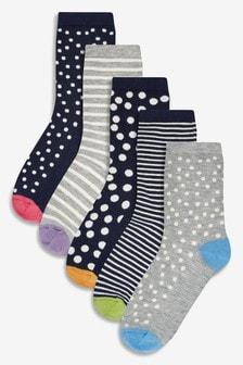 Spot Stripe Ankle Socks Five Pack