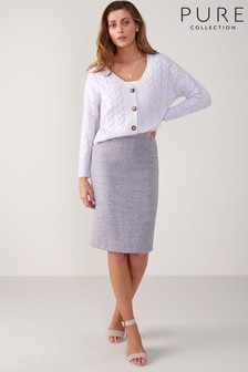 Pure Collection Lilac Texture Wool Pencil Skirt