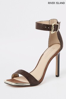 River Island Brown Print Barely There Heeled Sandal