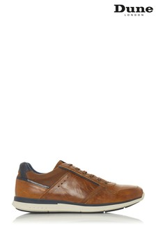 Dune London Tan Stripe Tab Trainer
