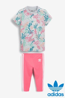 adidas Originals Infant Floral Dress And Legging Set