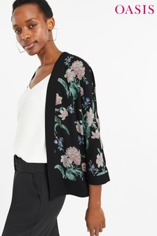 Oasis Black Petunia Tulip Kimono
