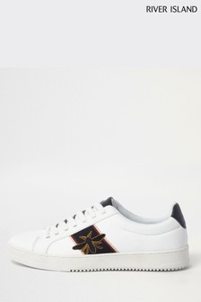 River Island White Bee Embroidered Side Tape Trainer