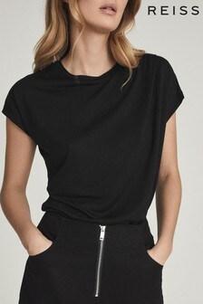 Reiss Black Leandra Fine Jersey T-Shirt