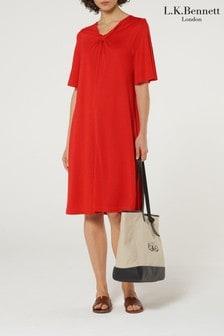 L.K.Bennett Red Twist V-Neck Dress