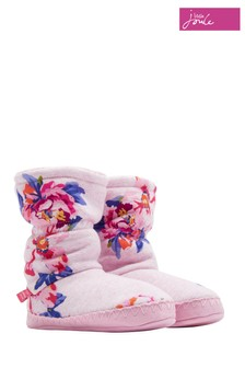 Joules Pink Marl Granny Floral Fleece Lined Slipper Sock