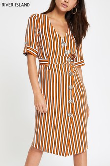 River Island Petite Orange Stripe Button Midi Dress