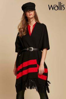 Wallis Black Stripe Hem Tassel Wrap