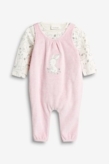 Bunny Velour Dungarees (0mths-2yrs)