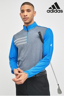 adidas Golf 3 Stripe Long Sleeve 1/4 Zip Top